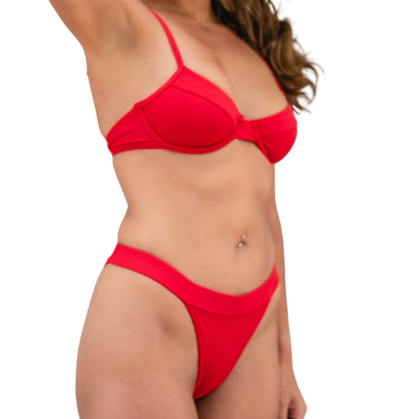 Red Underwire High Cut Bikini